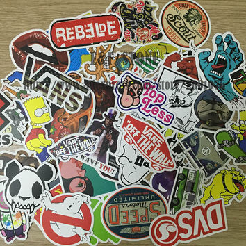 TD ZW 100pcs/pack DIY Waterproof Funny Laptop Car Sticker For Trunk Skateboard Guitar Gridge Decal Random Mixed Toy Stickers