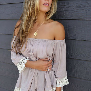 Without A Doubt Taupe Off The Shoulder Crochet Trim Fringe Detail Top