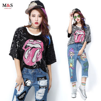 Melinda Style 2016 new women fashion t-shirt short sleeves sequined t-shirt top free shipping