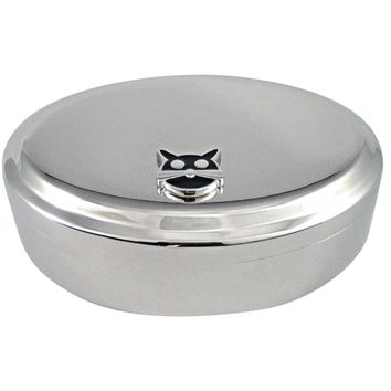 Black Cat Head Pendant Oval Trinket Jewelry Box