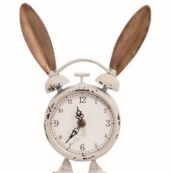 Bunny Clock --  Metal with Ears 10-in