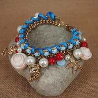 Fun Beach Light Blue Bracelet with Natural Seashell and Ocean Theme Charms