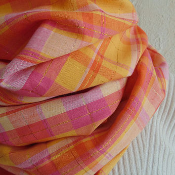 Pink Plaid Scarf, Tartan Plaid, Womens Scarf, Pink & Gold Scarf, Plaid Infinity Scarf, Cotton Scarf, Christmas Gift, Oversized Scarf