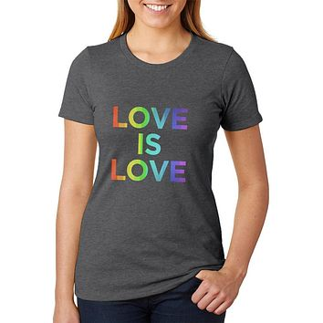 LGBT Gay Pride Love Is Love Womens Soft Heather T Shirt