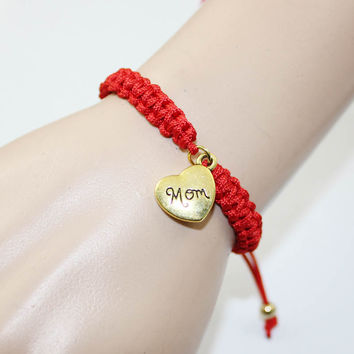 Mother's Gift 2017 New Fashion Braided Red String Love Heart Mom Mum Charm Bracelet On Mother's Day Women Pulseras