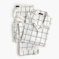 J.Crew Womens Windowpane Plaid Flannel Pajama Set