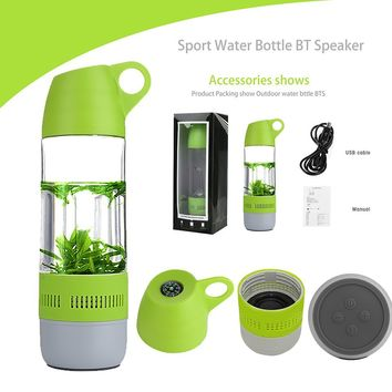 Huasword Bpa Free Water Bottle Leak Proof with Smart Bluetooth Speaker,Creative Gifts Perfect for Yoga,Walking,Biking,Jogging, Camping, Mountaineering, Outdoor Activities and Listening to Music