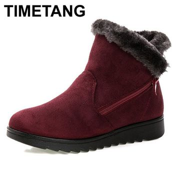 TIMETANG women winter shoes women's ankle boots  3 color fashion casual fashion flat warm woman snow boots