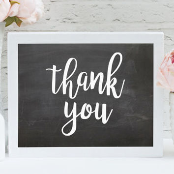 "Thank You 8"" x 10"" DIGITAL DOWNLOAD Chalkboard Wedding Printable Photography Prop Sign (Also Available In Gold And Bronze)"