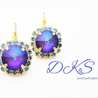 Swarovski Earrings, Lever Backs, 12mm, Crystal, Halo, Ultra Purple AB, Bridal, Gold Setting,Drops, Dangles,DKJewelrydesigns,FREE SHIPPING