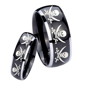 His Hers Gossy Black Dome Multiple Skull Pirate 2 Tone Tungsten Wedding Rings Set