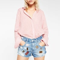 DENIM SHORTS WITH BADGES - SHORTS-WOMAN-COLLECTION AW16 | ZARA United States