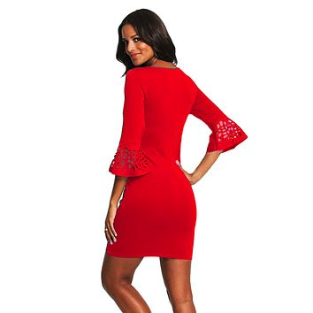 Red 3/4 Hollow-out Bell Sleeve Sheath Mini Dress