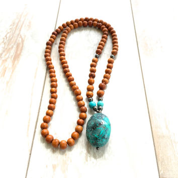 Turquoise and Wood Necklace, Statement Necklace, Natural Jewelry, Bohemian Style, Mala Beads, Yoga Jewelry, Boho Necklace, Hippie Style