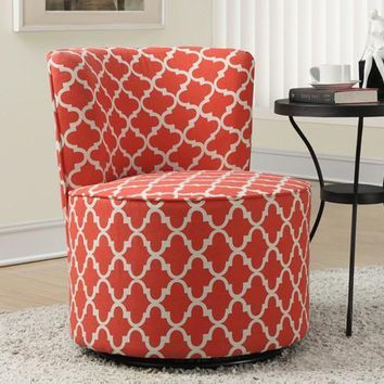 "Coral "" Lantern "" Fabric Accent Chair With Swivel Base"