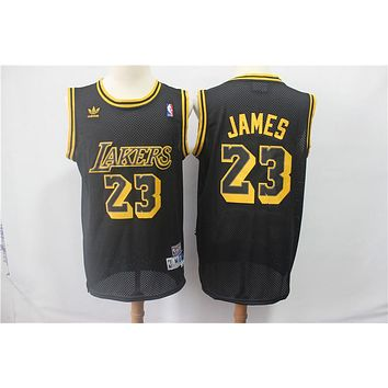 Los Angeles Lakers #23 Lebron James Black Gold Classic Mitchell & Ness Hardwood Basketball Jerseys - Best Deal Online