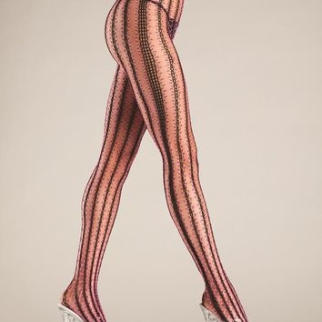 Bewicked Female Contrast Color Vertical Stripe Net Tights BW704