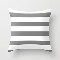 Grey Stripes Throw Pillow by LookHUMAN