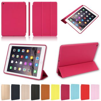Magnetic Leather Smart Cover for Apple iPad Air 2 A1566 A1567 with Rubberized Back Case