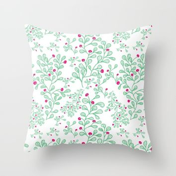 Petite mon amour mint Throw Pillow by Vicky Theologidou
