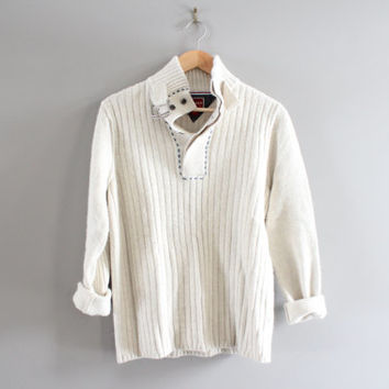 Tommy Hilfiger Sweater White Cotton Sweater White Henley Pullover Cable Knit Sweater Unisex Knit Minimalist Vintage 90s Size M - L