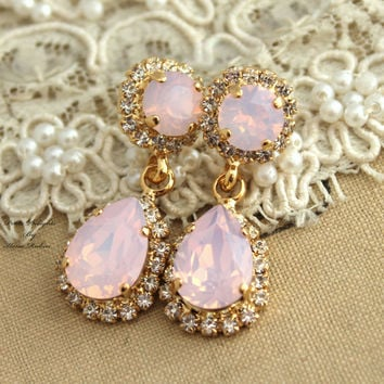 Pink Blush Opal earrings Swarovski chandelier, bridal jewelry,gift for her - 14k gold plated earrings real swarovski rhinestones.