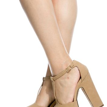 Natural Faux Leather Chunky Peep Toe T Strap Heels @ Cicihot Heel Shoes online store sales:Stiletto Heel Shoes,High Heel Pumps,Womens High Heel Shoes,Prom Shoes,Summer Shoes,Spring Shoes,Spool Heel,Womens Dress Shoes