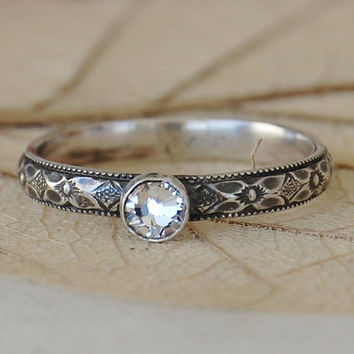 Gorgeous Sterling Silver Art Deco Ring - Custom Made in Your Size
