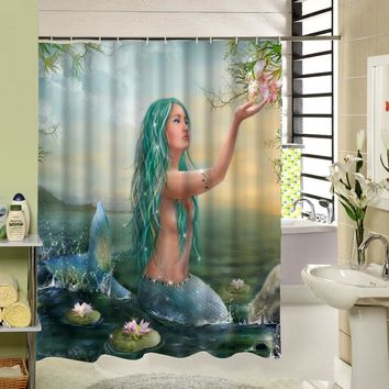 The Beautifu Mermaid With Green Hair Is Enjoying The Flower In The River Custom  Curtain For Bathroom Waterproof Shower Curtain