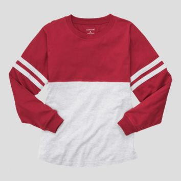Athletic Unisex Pom Pom Pullover Jersey. Oxford & Red.