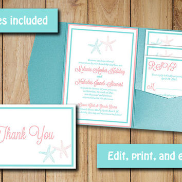 Starfish Beach Wedding Pocketfold Template | Coral Blush Aqua Blue Turquoise | Invitation RSVP, Inserts, Thank You Microsoft Word Template