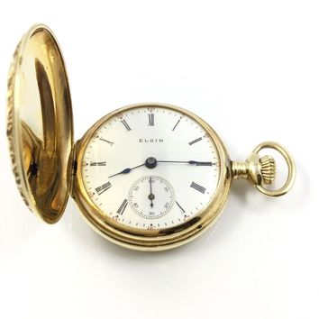 14K Antique Yellow Gold Elgin Full Hunter Pocket Watch 10058
