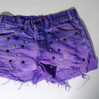 Vintage Dyed Destroyed purple LEVIS High Waist black STUDDED  Bleached Denim shorts cut off short shorts M L