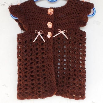 1T to 2T, Toddler Brown and Peach Cardigan Sweater, Baby Sweater Hand Crocheted, All Season Sweater, Summer Sweater, Toddler Clothing