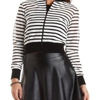 Black Combo Sheer-Striped Bomber Jacket by Charlotte Russe