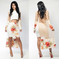 White Floral Print Long Back Cropped Top and Mini Skirt