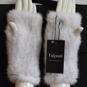 Valpeak Women Winter Mittens Knitted Finger less Fur Real Mink Fur Gloves Genuine Natural Warm Elastic Fur Gloves for Women