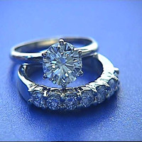 1.85ct F-VS2 Round Diamond Engagement & Wedding GIA EGL certified Ring 18kt White Gold JEWELFORME BLUE