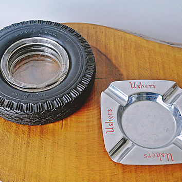 Advertisement Ashtrays, Goodyear Tire Ashtray, Ushers Brewery Ashtray, Vintage Advertising