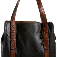 Fossil Vintage Reissue N/S Tote,Black/Brown,one size