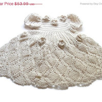 Special Birthday Sale Off White Baby girl Crochet Lace Dress Newborn Preemie Reborn doll Handmade dress
