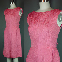 50s 60s Dress Vintage Pink Designer Cocktail Party Matelassé Juenesse Plunging Back S