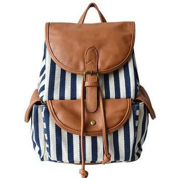 Women's Large Canvas Navy Blue and White Striped Backpack