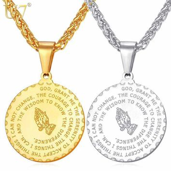 Bible Verse Medal Metal Brand Praying Hands Pendants Necklaces Gold / Stainless Steel Men Chain Jewelry Christmas Gift P102