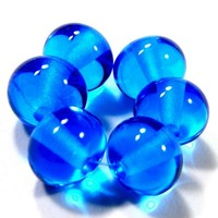 Lampwork Beads Shiny Transparent Dark Aqua Blue Glass Round 036g