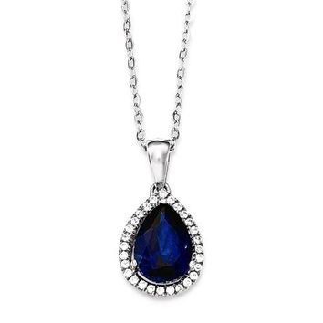 Sterling Silver Created Sapphire & CZ Pear Halo Necklace