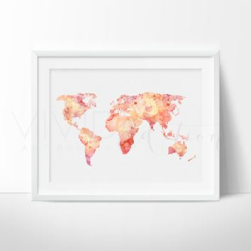 World Map 5 Watercolor Art Print