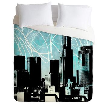 Los Angeles blue urban skyline Duvet Cover