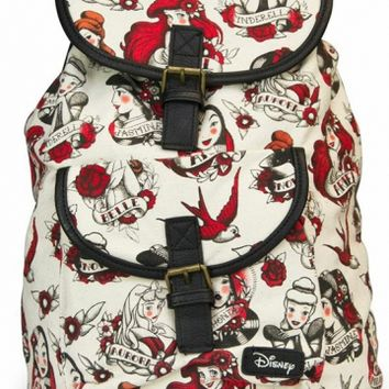"""Disney Princess"" Tattoo Backpack by Loungefly (Biege)"