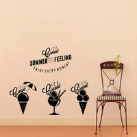 Wall Decal Vinyl Sticker Ice cream set of titles and symbols Art Design Room Nice Picture Decor Hall Wall Chu895